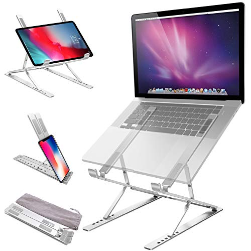 Jondarla Ergonomic Laptop Stand for Desk, Sturdy Aluminium Laptop Riser with 6+9 Adjustable Levels, Portable Foldable Laptop Holder, Compatible with All Notebooks iPads Tablets up to 17.3'