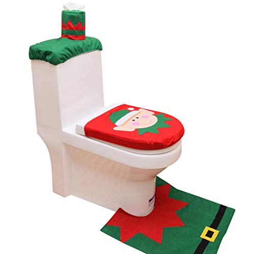 Merry Christmas,Best Gift for Home,Toilet Seat Cover Toilet Tank Cover and Rug Snowman Bathroom 3PC Sets