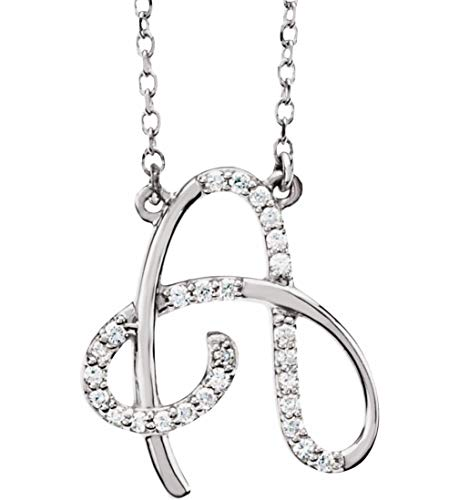Rhodium-Plated 14k White Gold Diamond Initial Letter 'A' Necklace by The Men's Jewelry Store