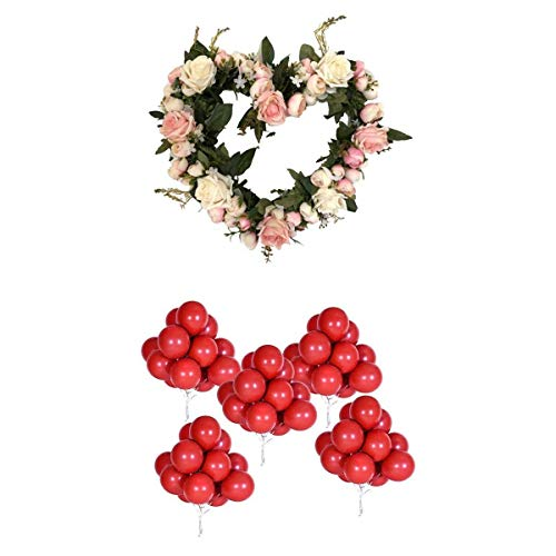 non-brand Baoblaze Kit de 53 Artificielles Fleur Guirlande Forme de Coeur et Ballons en Latex Rouge Grenat Décor Porte Avant pour Jardin Décoration de Fête de Mariage