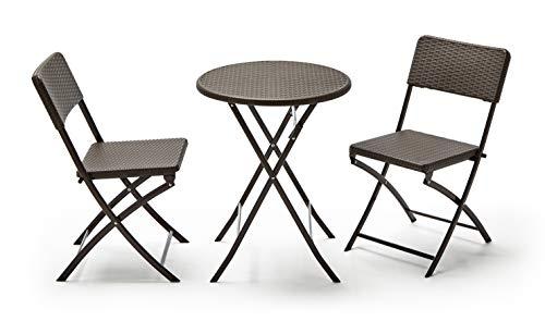 KG KITGARDEN - Conjunto Balcón/Terraza Plegable, 1 mesa redonda + 2 sillas, Marrón Imitación Ratán, Lux Balcon 60R