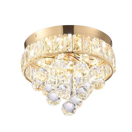 Kronleuchter LED Kristall Deckenleuchte Dimmbar Moderne Gold Rund Design Deckenlampe für Wohnzimmer Schlafzimmer Esszimmer Esstisch Flur Treppen Küche Balkon Loft Lampe Ø25CM×30CM