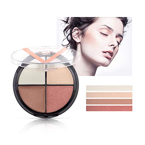 Mimore Highlighter-Palette, 4-Farben-Highlight-Lidschatten-Konturpalette, Shimmer High Glow-Make-up, 4 Farbtöne, anpassbar, einfach anzuwenden, Sculpts, Shades, Brightens, All-Day Wear (01)