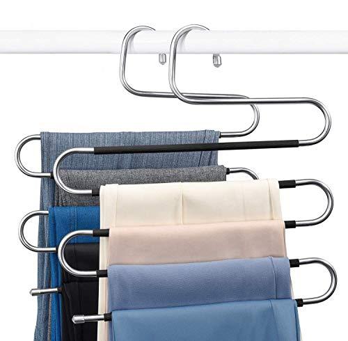 HOUSE DAY S-Form Hosen Kleiderbügel Platzsparende Hosen Kleiderbügel 4er Set, Rutschfester Jeans Kleiderbügel Idealer Schrank Organizer für Hosen Jeans Schals Gürtel Krawatten, Schwarz