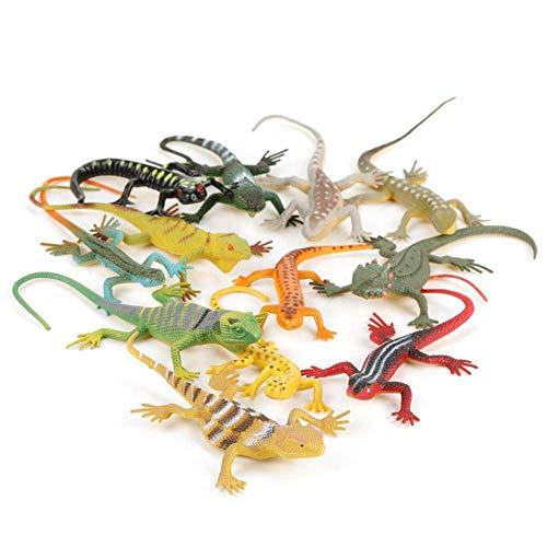 12 stücke Set Bunte Eidechse Muster Simuliert Kinder Tier Modell Spielzeug Lehre Zubehör Werkzeuge für Kinder über 3 Jahre alt