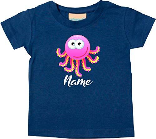 Shirtstown Bébé Kids-T, Pieuvre Oktopusmit Nom Souhaité Animal Animal Nature - Turquoise, 18-24 Monate
