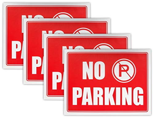 """Ram-Pro NO PARKING Sign - 9"""" High x 12"""" Wide Red on White Reflective Plastic Signs for Driveway, Personal Parking Space (Pack of 4)"""