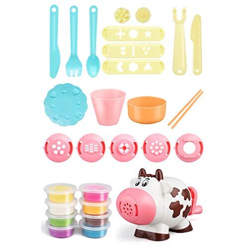 TCM-KE Juego de máquina de fideos de plastilina en forma de vacas 3D, juguete educativo, rompecabezas simulado hecho a mano para hacer fideos de cocina, juego para niños y niñas
