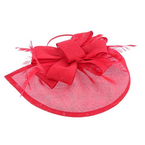 Baoblaze Femmes élégantes Fascinator chapeau nuptiale cheveux clip accessoires Mariage Formal Occasion - Noir/Blanc/Rouge/Marine/Rose/Violet - Rouge