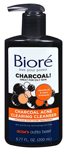 Biore Charcoal Acne Clearing Cleanser 6.77 Ounce Pump (200ml) (3 Pack)