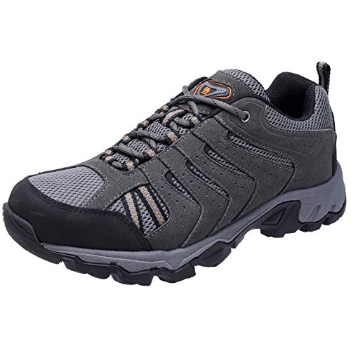 CAMELSPORTS Hiking Shoes Men Waterproof Ankle Support Non-Slip Lightweight for Outdoor Trekking Walking Grey