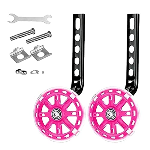 Faderr 1 Paar Fahrrad-Trainingsräder für Kinder, halten Sie das Gleichgewicht Fahrrad Trainingsräder verstellbar für 30,5 bis 50,8 cm (Rosa, Größe: 1 Paar)
