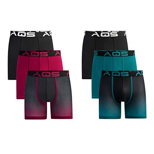 aqs Men's Ombre Boxer Briefs (XL, Teal/Burgundy)