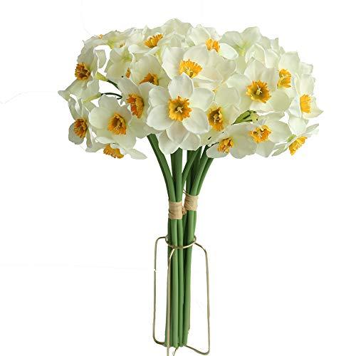 12PCS Artificial Daffodil Tulips Flowers Yellow Spring DIY Silk Flower Arrangement (White)