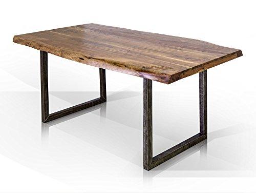 moebel-eins GERA Baumkantenesstisch Esstisch Holztisch Akazie Metallfuß schwarz lackiert, 140x90 cm