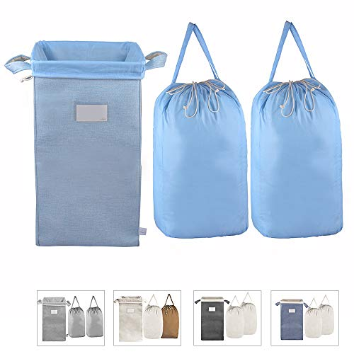 MCleanPin Collapsible Laundry Hamper with 2 Removeable Laundry Bags Sorting Card Kids Foldable Dirty Clothes Hamper Dorm Room Storage for College and Laundry RoomNursery 2 Handles Sky Blue