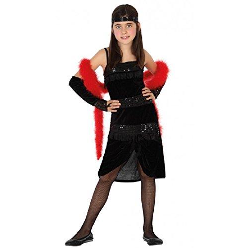Atosa-98675 déguisement cabaret noir 10-12, Unisex-Kinder, 98675, Multicolore, Ans