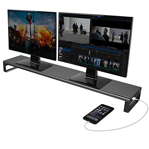 Dual Monitor Stand Computer Riser with USB 3.0 Hub Ports, Aluminum Strong&Sturdy Stand for Double Computer, TV, PC, Printer, Multi Media Speaker-Multifunctional Desktop Organizer