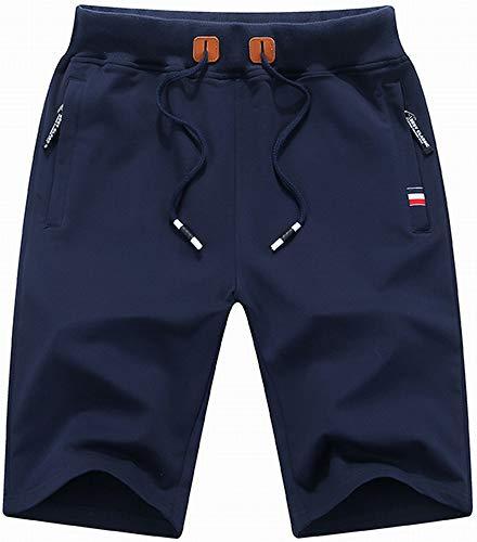 QPNGRP Mens Shorts Casual Drawstring Zipper Pockets Elastic Waist Navy 34