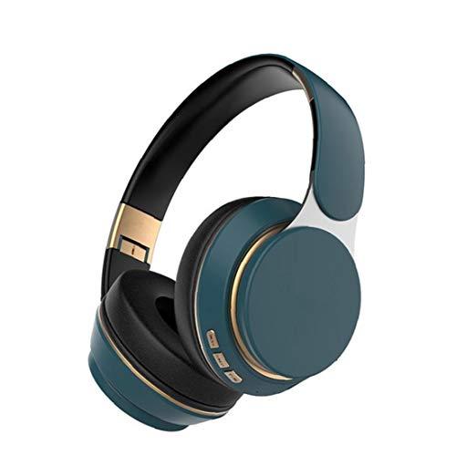 GGOOD Auricular Bluetooth Auriculares de Juego inalámbrico sobre los Auriculares del oído Ajustable T7 Auriculares con micrófono para PC TV Teléfono Azul, Equipo de Audio