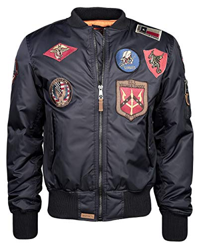 Top Gun Herren Bomberjacke Im Pilotenstil Mit Patches Tg1540p Navy,XL