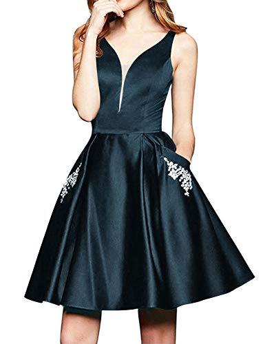Abendkleid Kurz A-Linie Cocktailkleid Ballkleid Satin Elegant Brautjungfernkleider Abiball Partykleider Tintenblau 34