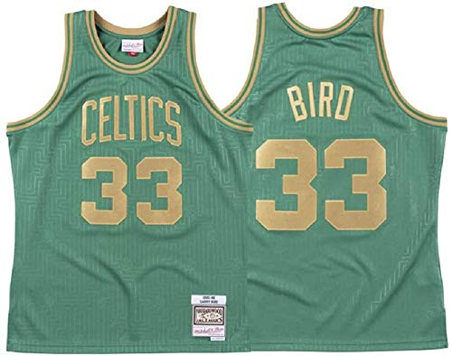 WZ Basketball-Jersey-Männer Boston Celtics 33# Larry Bird, Kühle Breathable Gewebe Green New Gestickte Retro All-Star Jersey Sports Top,XL:185cm/85~95kg