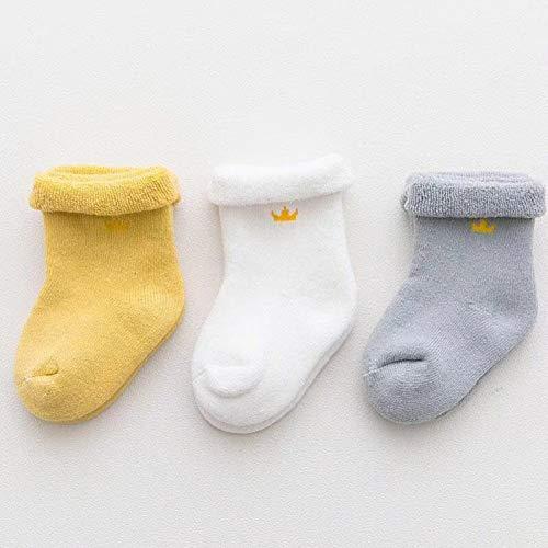 Elanpu Coton Nouveau-né Coton Chaussettes épaississement d'hiver Enfants Chaussettes éponge Chaussettes de Plancher 3 Pcs,g,M