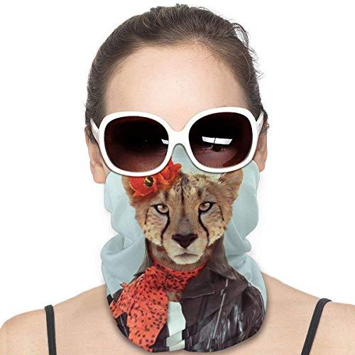 XCNGG Leopard Lady cover Bandanas para Mujeres Hombres Cuello Polaina Mitad Multifuncional Headwear para el Polvo al aire libre Deportes Bufanda Negro