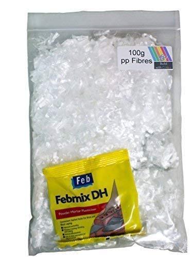 Polipropilene (Pp) Fibre per Calcestruzzo e Massetto 100-900g Sacchetti Riduce Restringimento e Cracking - 100g x 6mm