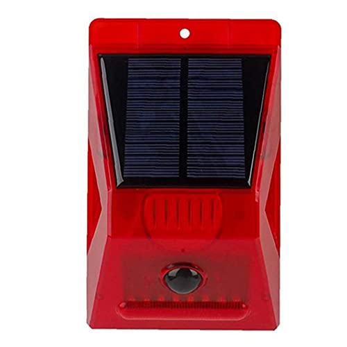 Solar Alarm Siren Loud Sound 129dB Strobe Light with Motion Sensor Remote Control for Home Farm Villa Outdoor