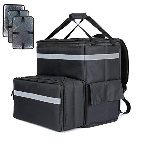 Yushang デリバリーバッグ業務用 保温ピザバッグ ウーバーイーツリュック保冷バッグ ウーバッグ 大容量 耐荷重 折りたたみ 3枚の仕切り