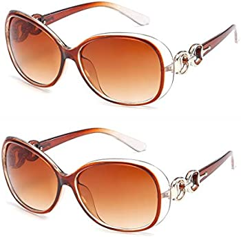2-Pack ENSARJOE Women's Vintage Big Frame UV400 Sun Glasses