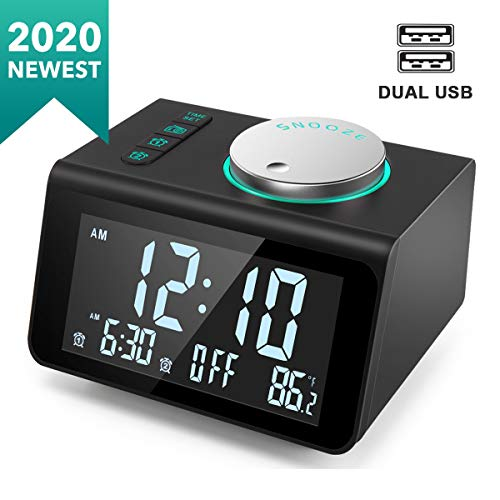 ANJANK Small Alarm Clock Radio - FM Radio,Dual USB Charging Ports,Temperature Display,Dual Alarms with 7 Alarm Sounds,5 Level Brightness Dimmer,Headphone Jack,Bedrooms Sleep Timer