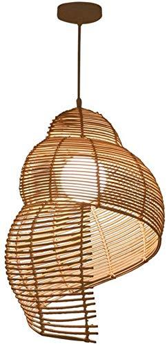 FEE-ZC Conch - Luces Colgantes en Forma de Espiral Lámparas de Techo Pantalla Creativa Color de Madera Ajustable en Altura E27 para alojamientos Locales Restaurantes Casa