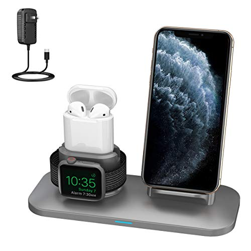 SimpJoy Wireless Charger, 3 in 1 Wireless Charger Station for AirPods 2/1 and iWatches 5/4/3/2/1, Qi Fast Wireless Charger Compatible with iPhone11/11Pro Max/XR/XS Max/XS/X(Built-in iWatch Charger)