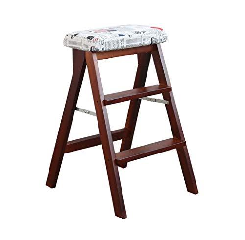 WEHOLY Barhocker Esszimmerstuhl Sessel Klappstufen Massivholz Leiter Hocker Klappbar Braun Hocker-Bein Stufen Hocker Stark Multifunktionale Holzküche Büro Verwenden Sie Leiterstuhl mit 3 Stufen