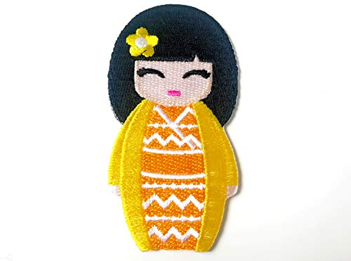 Yellow Color Japanese Kokeshi Doll Japan Vintage Cute Girl Jacket T-Shirt Sew Iron on Embroidered Applique Badge Sign Patch