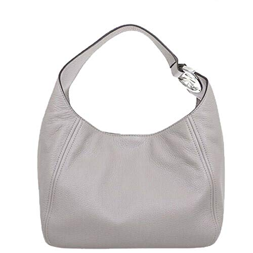 Michael Kors Fulton Hobo Shoulder Pebbled Leather Bag Pearl Grey