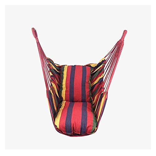 ZBF Silla de la Cuerda de la Cuerda Colgante de la Silla Colgante de la Silla Colgante con 2 Almohadas para el jardín Cubos de Hamaca de Moda al Aire Libre Interior (Color : Red)
