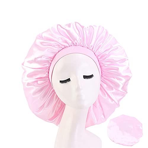 Gorro de pelo para mujer, impermeable, de poliéster, para baño, de alta elasticidad, color puro, reutilizable, para teñir el pelo, gorras plegables para ducha, spa, maquillaje, salón de cocina