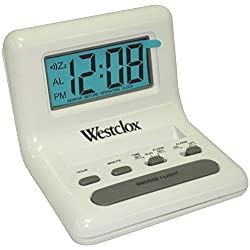 Salton 0 Westclox 47539 White LCD Alarm Clock with Light On Demand, 0.8-Inch, 1