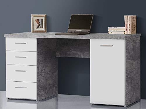 möbelando Schreibtisch Bürotisch Computertisch Arbeitstisch Laptoptisch Büromöbel Balu I Beton/Weiß