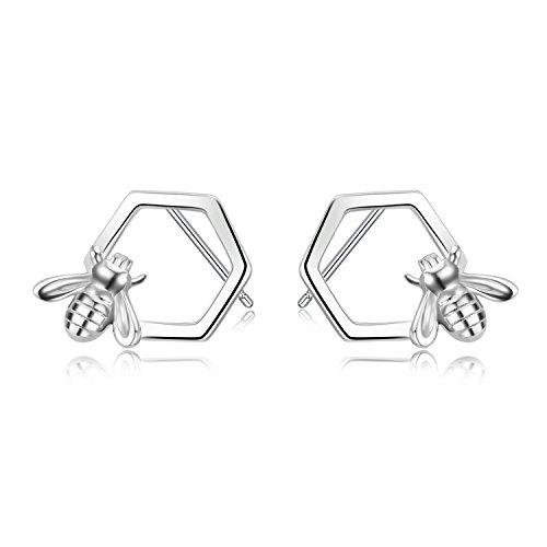 Bee Stud Earrings Sterling Silver Honey Bumble Bee Comb Studs Gifts for Women Girls (Bee stud earrings-silver)
