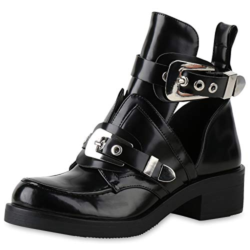 SCARPE VITA Damen Ankle Boots Cut Outs Stiefeletten Leder-Optik Schuhe Kurzschaft-Stiefel Schnallen Look Biker 158415 Schwarz Schwarz Total 38