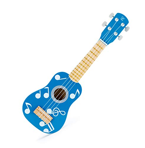 Hape E0604 - Ukulele Flamme, Kindergitarre, aus Holz, Blau