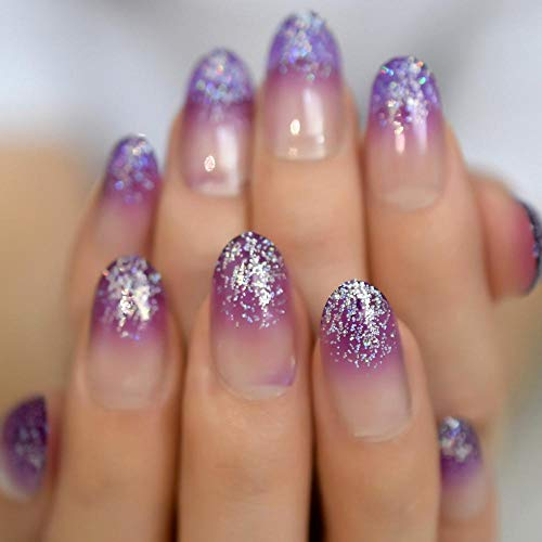 Faux ongles Charmant Violet Faux Ongles Bling Glitter Ombre Ovale Ongles Clairs Conçu Nail Art Conseils 24 Count