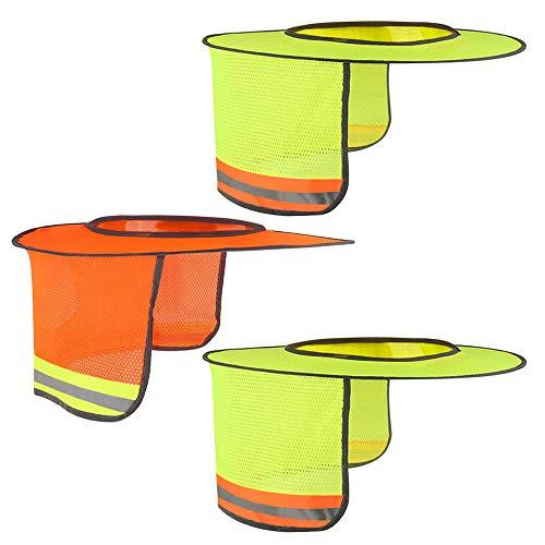 Topbuti 3 Pack Hard Hat Sun Shield Full Brim Mesh Hats Neck Sunshade, High Visibility Neck Sunshield w/Reflective Stripe for Hardhats (Orange, Yellow)
