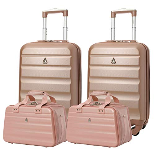 Aerolite Ryanair 55x35x20cm Lightweight ABS Hard Shell Travel Carry On Cabin Hand Luggage Suitcase + 40x20x25cm Hand Cabin Shoulder Bag 2X Rose Gold + 2X Rose Gold