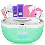 KARITE Paraffin Wax Machine for Hand and Feet, Fast Wax Meltdown Paraffin Bath, 3000ml Large Capacity Paraffin Wax Warmer with 2lb Paraffin Wax Refills & Thermal Mitts for SPA (Green)